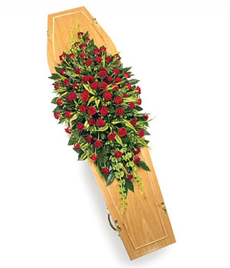 RED ROSE COFFIN SPRAY. Click to enlarge